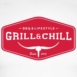 BBQ and Chill / BBQ and Lifestyle Origin Logo - Men's Long Sleeve Baseball T-Shirt