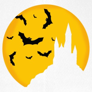 Halloween bats on yellow moon background - Flexfit Baseball Cap