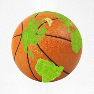 basketball planet earth globe earth globe - Flexfit Baseball Cap
