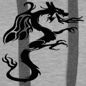 Tribal Dragon head / dragon design in black - Women's Premium Hoodie