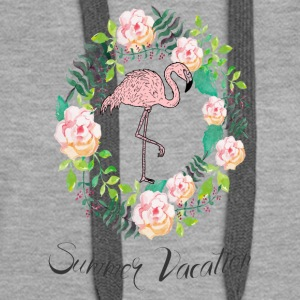 Flamingo - Summer Vacation - Blumenkranz - Women's Premium Hoodie