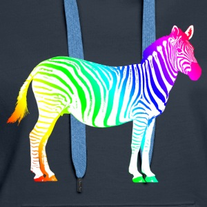 Zebra Africa rainbow safari colorful summer - Women's Premium Hoodie