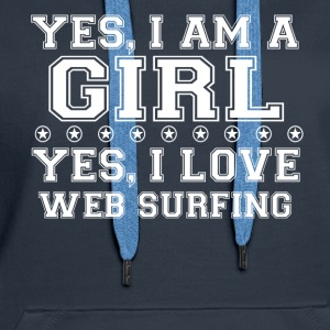 gift on girl a girl love gift bday WEB SURFING - Women's Premium Hoodie