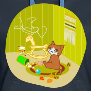 Cat playing in her nursery - Women's Premium Hoodie