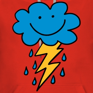 Funny cloud with flash, raindrops, comic, emoji - Women's Premium Hoodie
