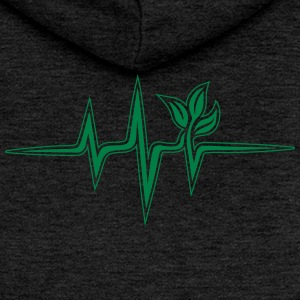 Plant frequency, pulse, heartbeat, green, vegan - Women's Premium Hooded Jacket