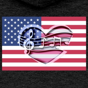 American flag music notes Patriot patriots - Women's Premium Hooded Jacket