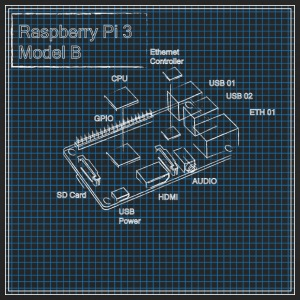 Hallon Pi 3 Model B Blueprint - Ekologisk T-shirt dam