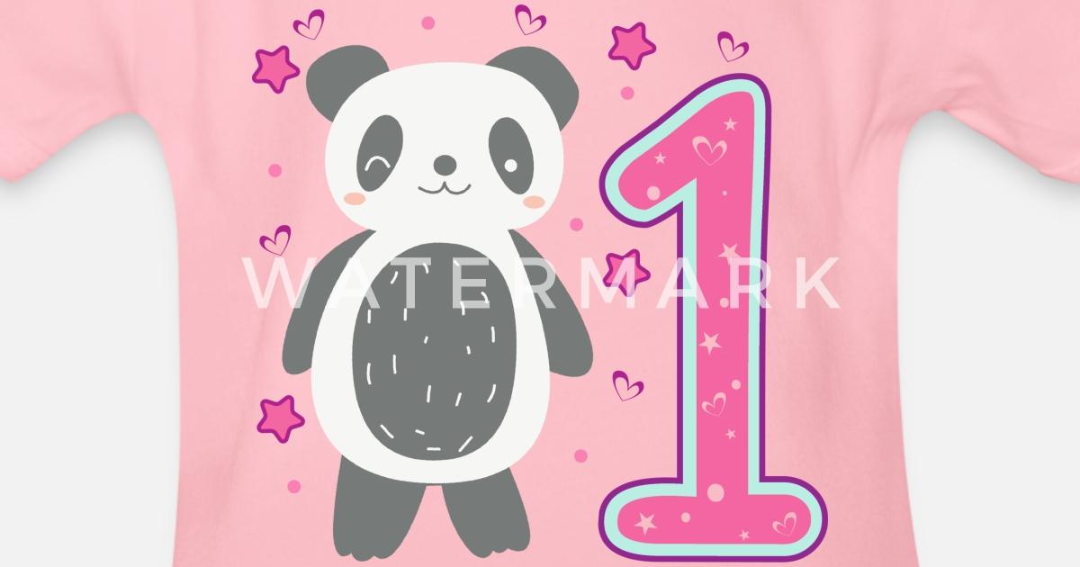 Organic Short Sleeved Baby BodysuitFirst 1st Birthday Girl Daughter Panda Gift