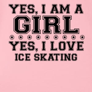 yes gift on a girl love bday gift ICE SKATING - Organic Short-sleeved Baby Bodysuit