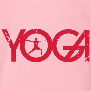 Yoga writing with man in grunge style - Organic Short-sleeved Baby Bodysuit