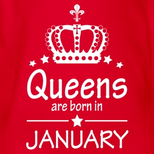 Queens are born in January - Organic Short-sleeved Baby Bodysuit