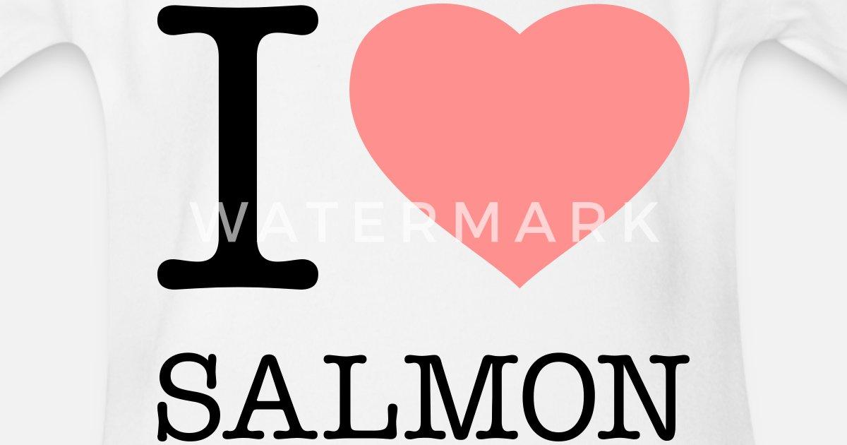 4ebc3aa1 I LOVE SALMON Økologisk kortermet babybody | Spreadshirt