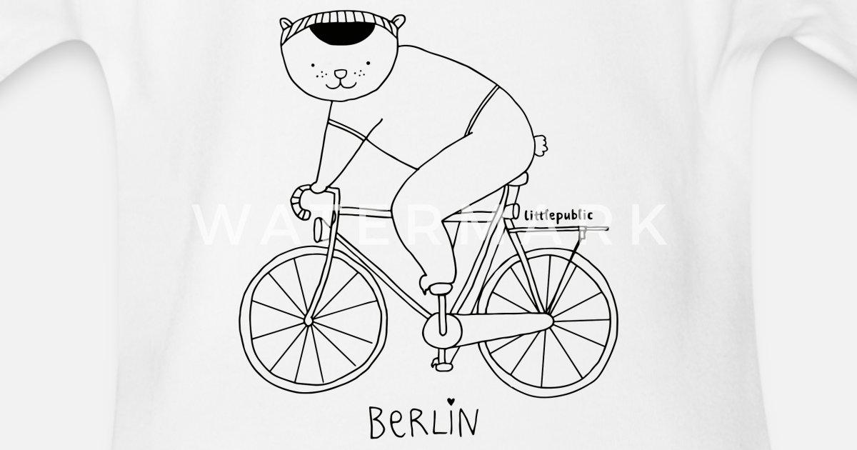 Berliner Bär Auf Dem Fahrrad Zum Ausmalen Baby Kurzarmbody