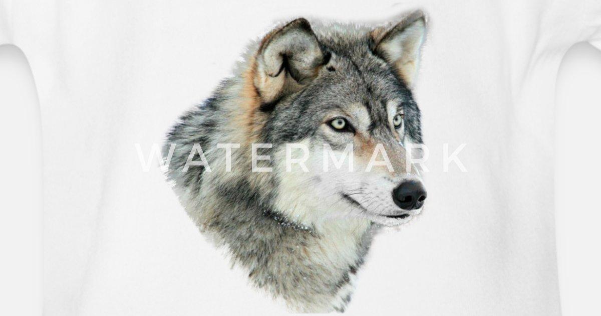 Grauer Wolf Baby Bio Kurzarmbody Spreadshirt