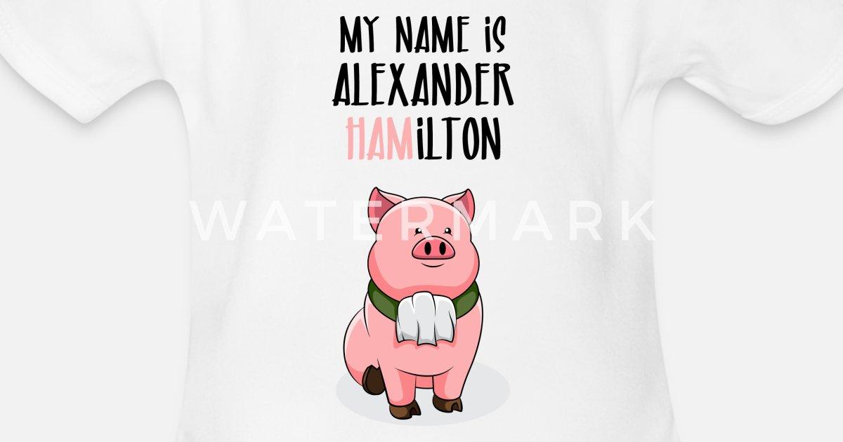 Alexander Hamilton Pig Piggy Ham Organic Short Sleeved Baby Bodysuit