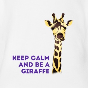 giraffe Keep Calm neck long africa animal cute - Organic Short-sleeved Baby Bodysuit