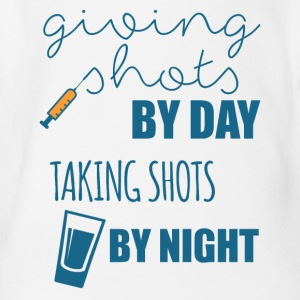 Nurse: Giving Shots By Day. Taking Shot - Organic Short-sleeved Baby Bodysuit