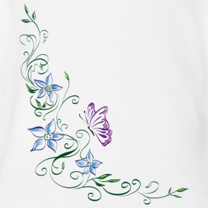 Flower ornament - Organic Short-sleeved Baby Bodysuit