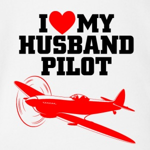 I love my husband pilot - Baby Bio-Kurzarm-Body