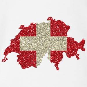 Swiss flag glitter home tradition card - Organic Short-sleeved Baby Bodysuit
