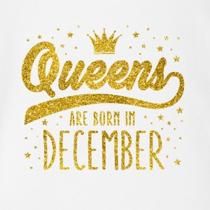 Gold Glitzer Queens Are Born In December - Baby Bio-Kurzarm-Body