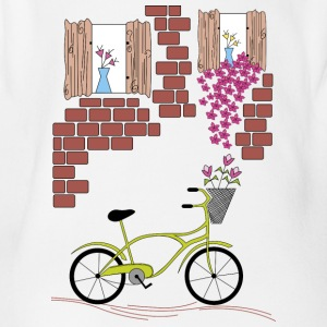 village with bicycle - Organic Short-sleeved Baby Bodysuit