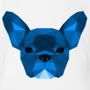 Låg Poly Frenchie blue - Ekologisk kortärmad babybody