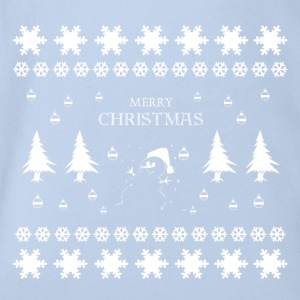 Merry Christmas Snowman - Organic Short-sleeved Baby Bodysuit