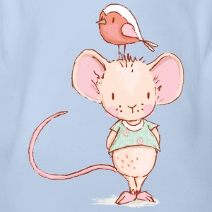 Mouse with bird - Organic Short-sleeved Baby Bodysuit
