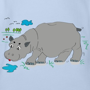 Hippo meadow - Organic Short-sleeved Baby Bodysuit