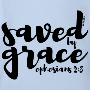 Saved by Grace - Ephesians 2: 8 - Organic Short-sleeved Baby Bodysuit