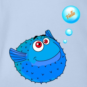 Cute Blue Puffer Fish - Body bébé bio manches courtes
