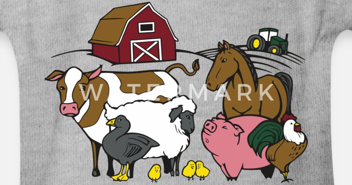 3ffff758c Dyr på gården Økologisk kortermet babybody   Spreadshirt