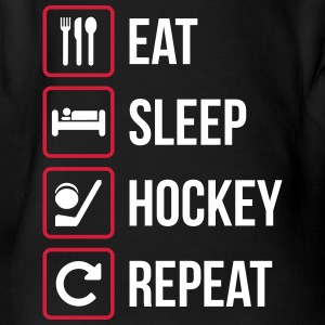 Eat Sleep Hockey Repeat - Organic Short-sleeved Baby Bodysuit