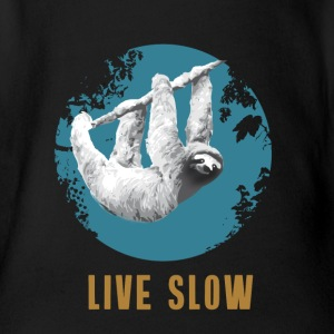 sloth live slow depend chilling calm lazy Forest - Organic Short-sleeved Baby Bodysuit