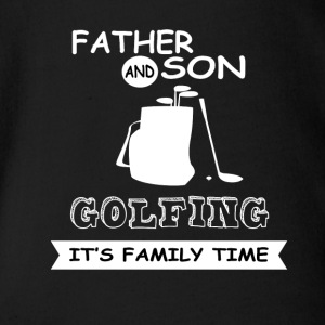 Father And Son - Golfing - Organic Short-sleeved Baby Bodysuit