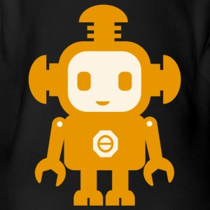 Robot (yellow) - Organic Short-sleeved Baby Bodysuit