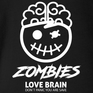 Zombies love brains- Zombies Love Brain - Organic Short-sleeved Baby Bodysuit