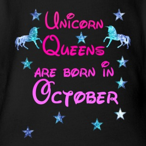Unicorn Queens born October october - Organic Short-sleeved Baby Bodysuit