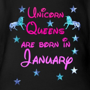 Unicorn Queens born January January - Organic Short-sleeved Baby Bodysuit