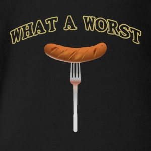 What a worst What a sausage funny barbecue shirt - Organic Short-sleeved Baby Bodysuit