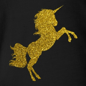 Golden Unicorn - Goldenes Einhorn Gold Glitzer - Baby Bio-Kurzarm-Body