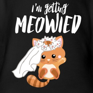 I Marry - Sweet Cat - Engagement Wedding! - Organic Short-sleeved Baby Bodysuit