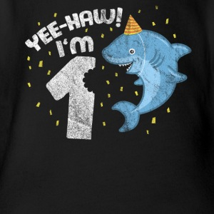 1st Birthday Sweet Shark Kid Juhuu! I am one. - Organic Short-sleeved Baby Bodysuit