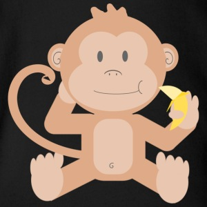 Monkey with banana - Organic Short-sleeved Baby Bodysuit