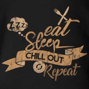 EAT SLEEP CHILL OUT REPEAT - Organic Short-sleeved Baby Bodysuit