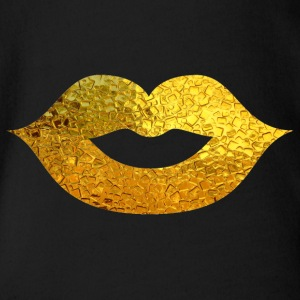 Lipstick / mouth / kiss mouth: Gold - gold plated - Organic Short-sleeved Baby Bodysuit