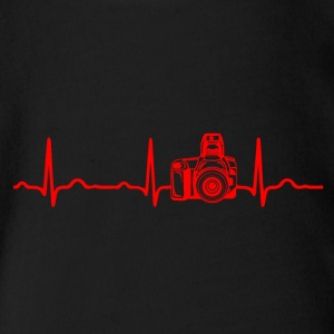 ECG HEARTBEAT CAMERA Red - Organic Short-sleeved Baby Bodysuit