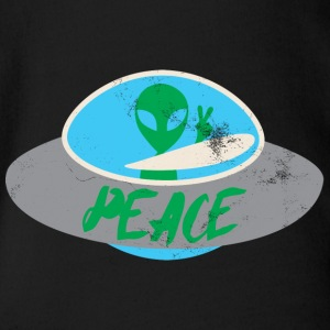 Alien / Area 51 / UFO: Peace - Organic Short-sleeved Baby Bodysuit